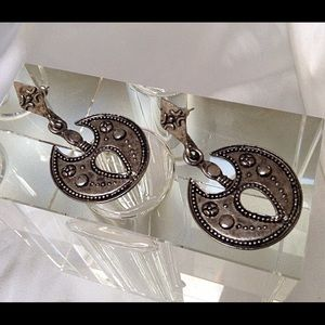 Crescent Moon BOHO VtgEthnic Patina Silver Earring